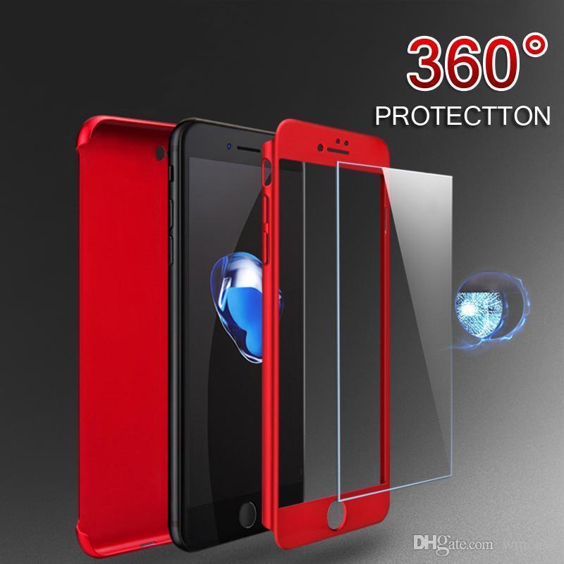 Nueva funda de 360 grados de protección de cobertura de cuerpo completo delgada con cubierta de PC dura de vidrio templado a prueba de golpes para iPhone XS Max XR X 9 8 7 6 6S Plus