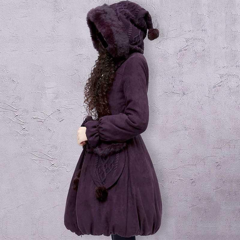 Invierno conejo Casual Abrigo de piel acolchada de artka las mujeres grandes de la sudadera con capucha de punto Cinturón sólido algodón caliente de abrigo acolchado Escudo