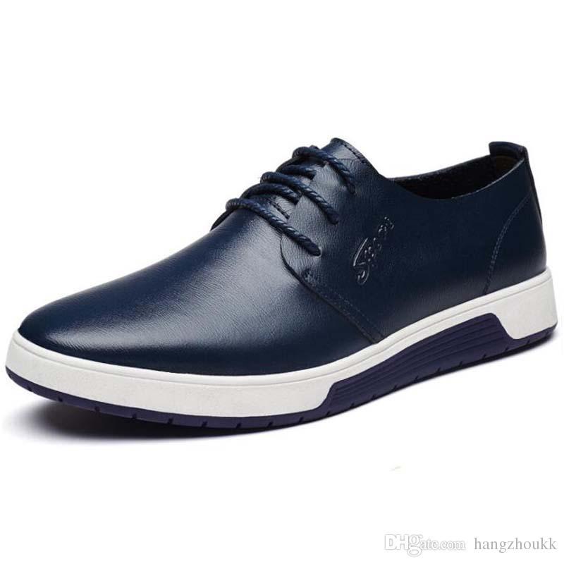 Nouveaux chaussures confortables pour hommes Véritable Slip en cuir Chaussures de sport pour homme, Espadrilles plates d'espadrilles pour étudiants