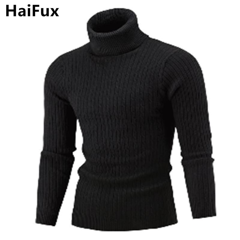 Sweater Pullover Men 2018 Male Brand Casual Solid-Color KniSimple Sweaters Men Comfortable Hedging Turtleneck Men'S Sweater