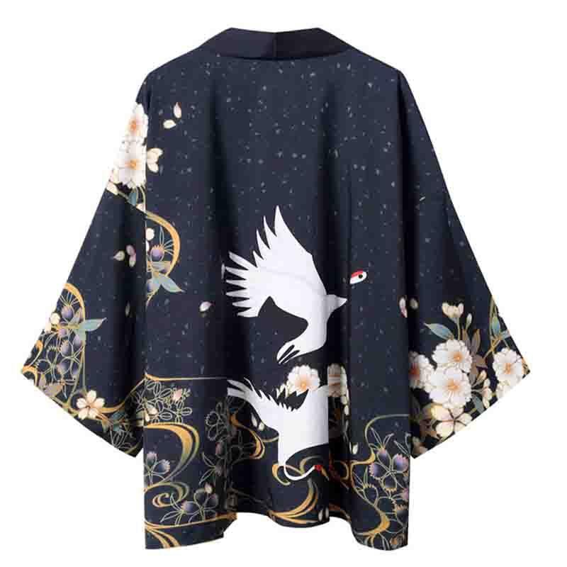 Hip Hop Yukata Harajuku Shirt Print Men Style Japonais Kimono Satin Casual cosplay costume veste ample peignoir robe
