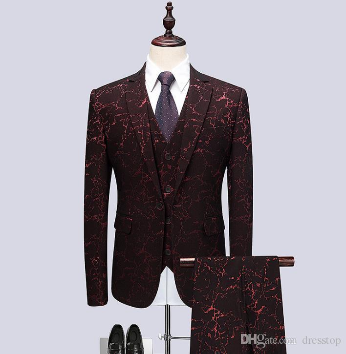 Fashion Groom Tuxedos 2019 Jacquard Wedding Pants Coat Design Best Man Blazer Men Suits Prom Party Dress Suit Custom (Jacket+Pants+Vest)