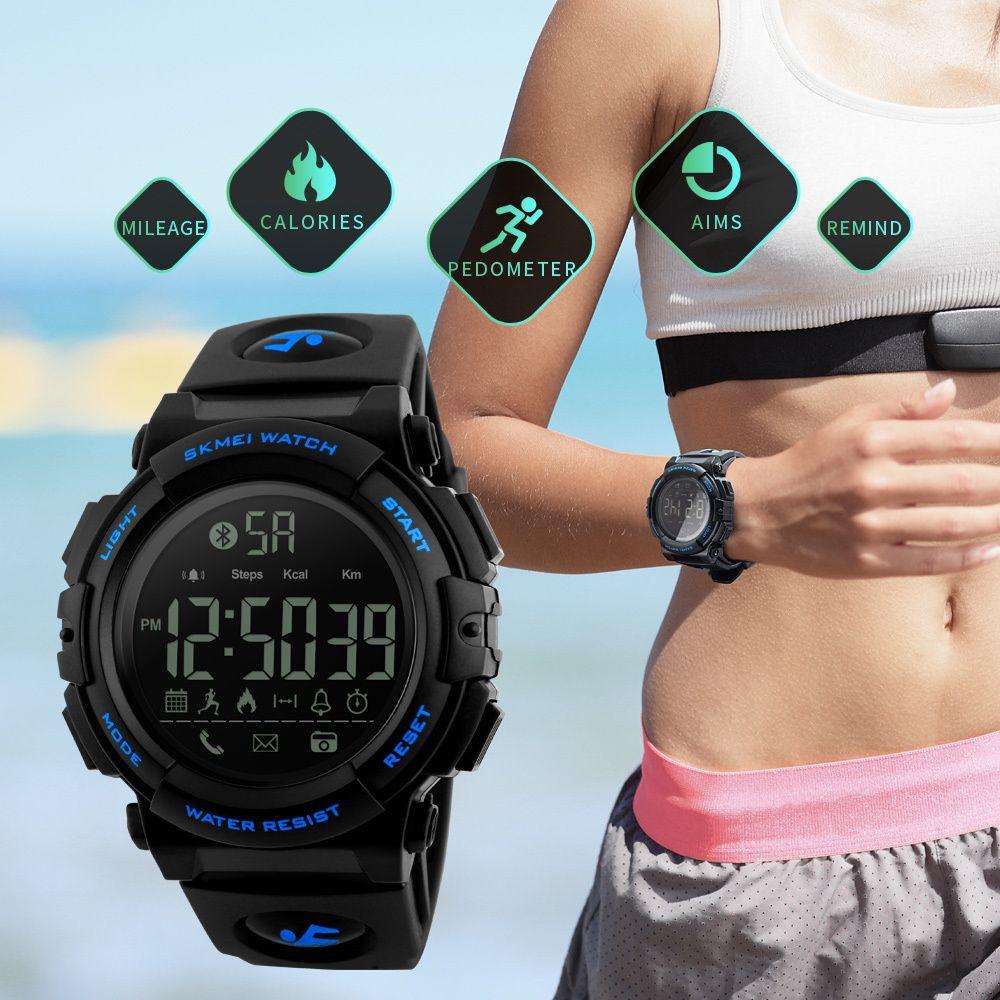 패션 블루투스 스마트 시계 스포츠 보수계 칼로리 원격 카메라 야외 스포츠 방수 디지털 손목 시계를 Smartwatches