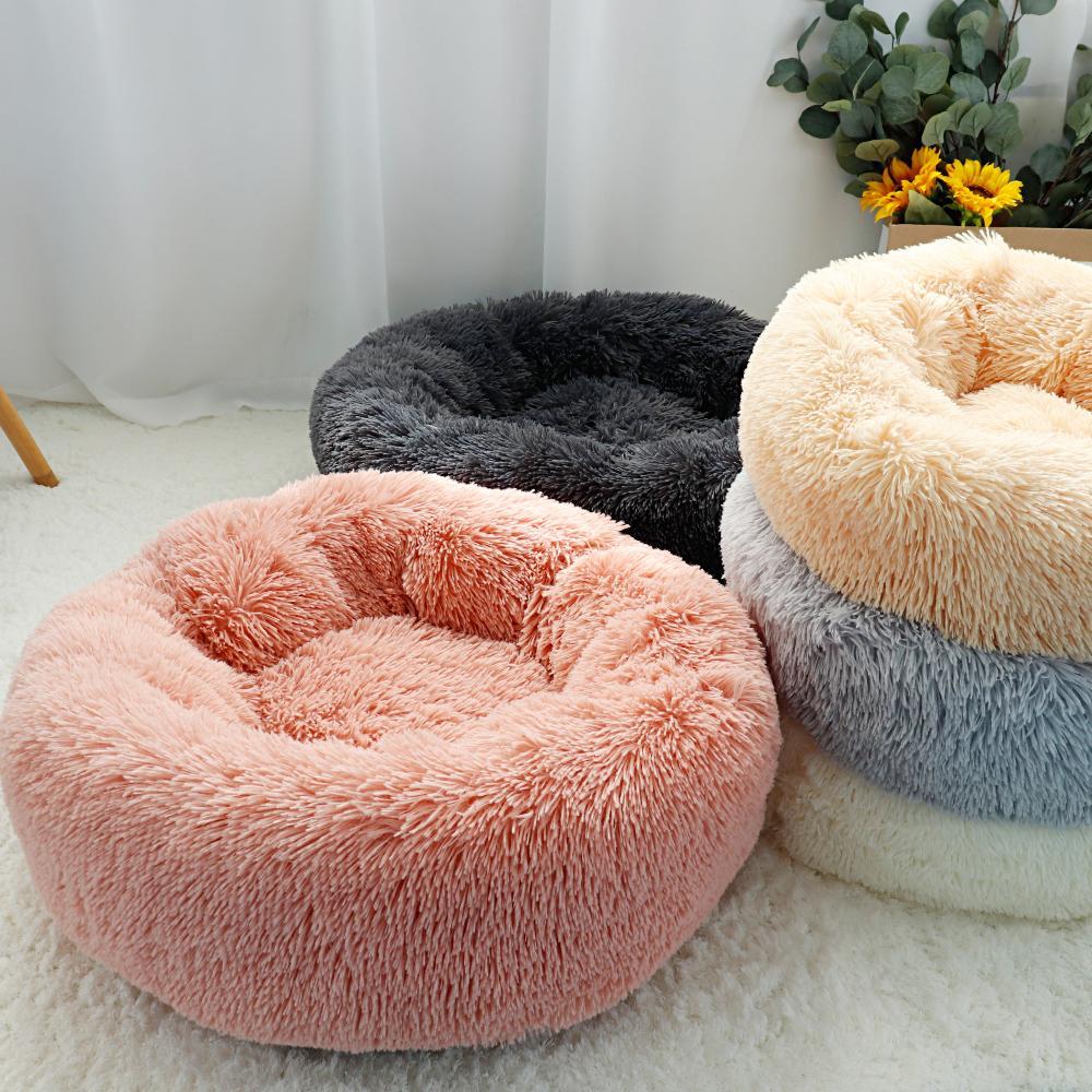 Cão Pet cama quente velo Rodada Canil Casa longas Plush Inverno Cachorro camas para Medium Large Cães Gatos macia Sofá Almofada Mats Y200330