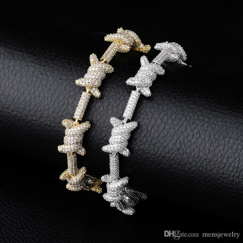 فاخر مصمم مجوهرات رجالي أساور الماس سحر سوار الهيب هوب بلينغ سوار يثلج خارجا سلاسل الهيب هوب مغني الراب الحب اكسسوارات الذهب الجديد