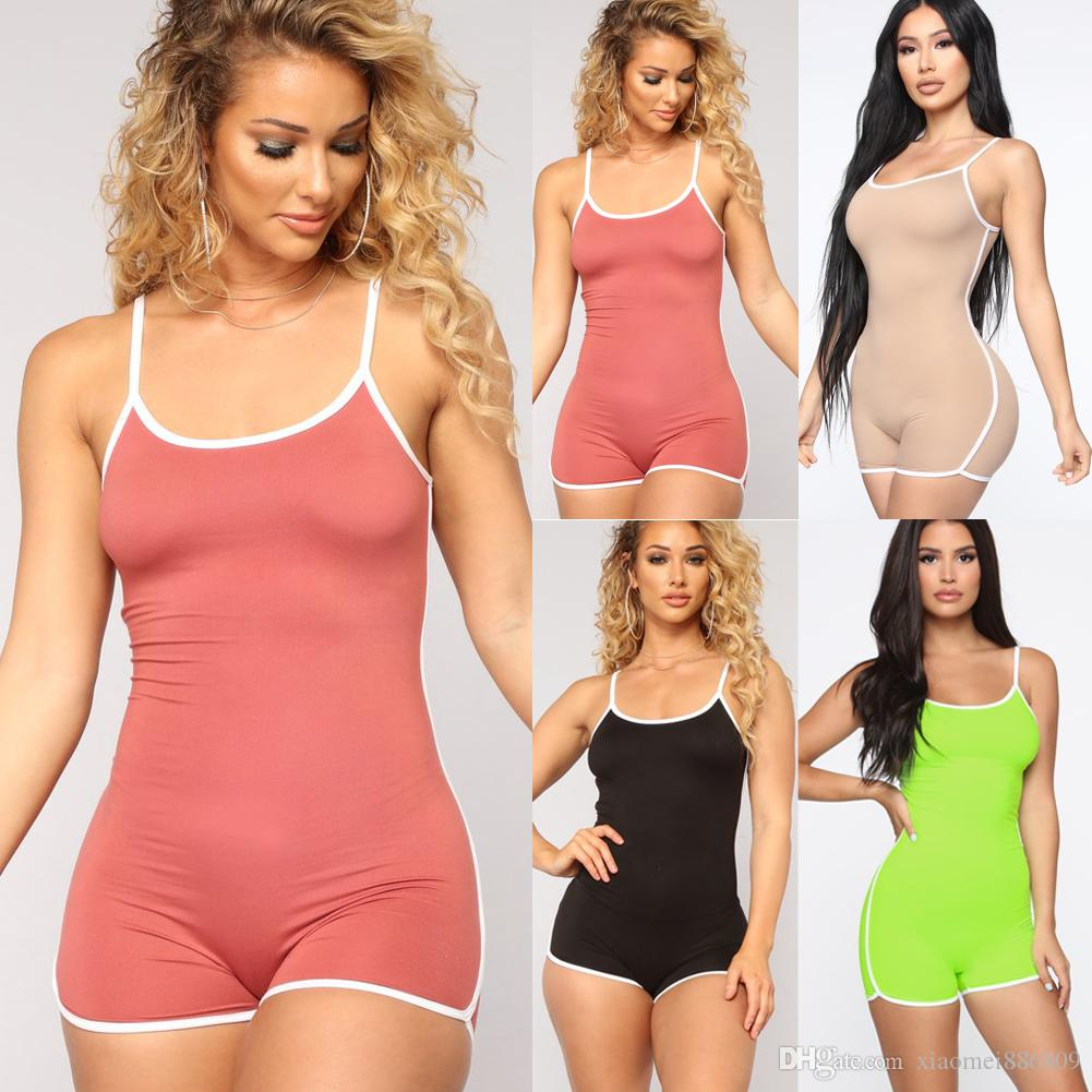 Short Romper Jumpsuit Casual manches Salopette femmes stretch été Bodysuit