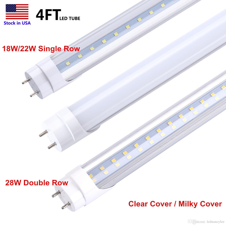 4ft Ampoule LED 4 Pieds Tube LED 18W 22W T8 Lumière fluorescente 6500K Blanc froid Usine de gros 28W Double LED Ligne