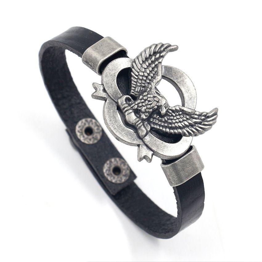Ride To Live Bracelets Genuine Leather Harley Rider Bracelet Punk Eagle Bracelets & Bangles Wristband Hip Hop Jewelry
