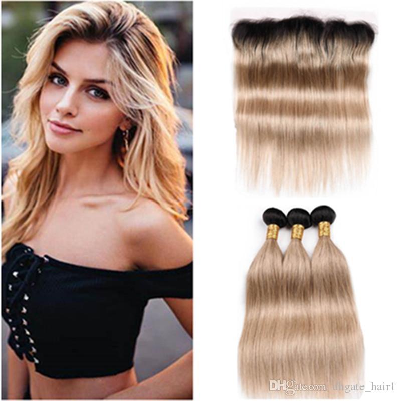 # 1B / 27 Honey Blonde Ombre droite malaisienne Human Hair Weave Bundles avec Frontal brun clair Ombre 3 Bundles avec 13x4 Lace Frontal