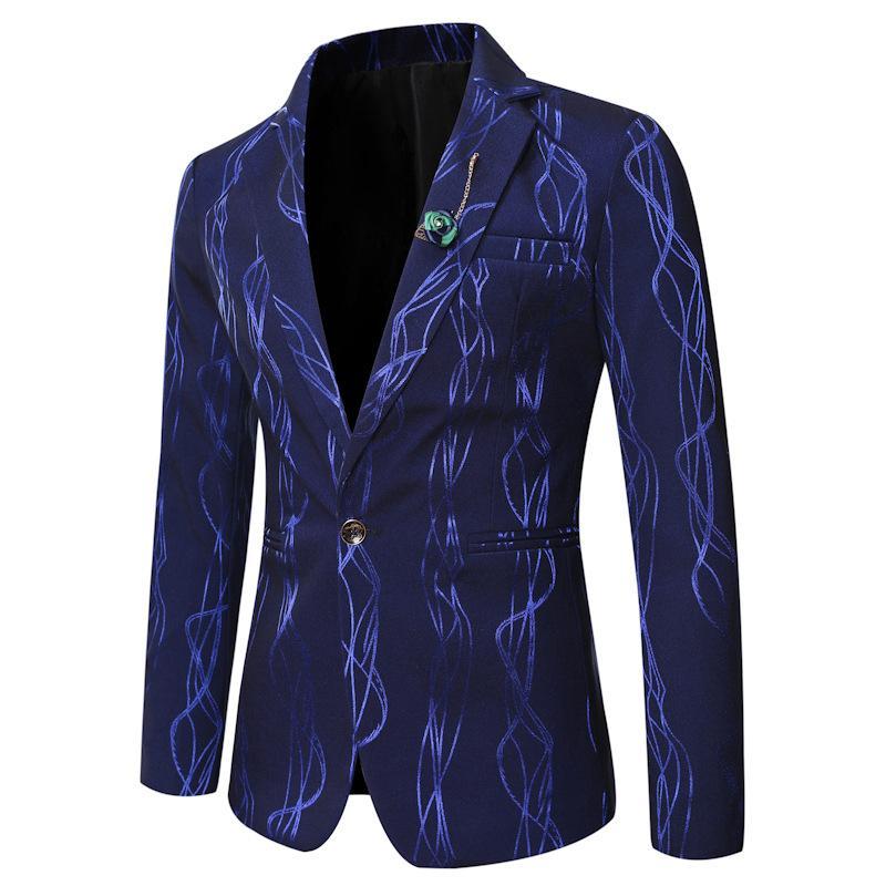 Jaquetas masculinas homens casual terno jaqueta moda brilhante listrado impressionado blazer slim fit negócio formal mens fatos