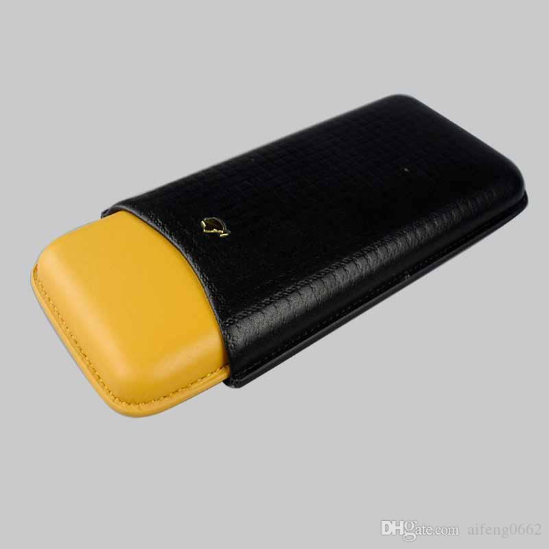 COHIBA noir avec jaune Porte en cuir 3 Tube Voyage étui à cigares Humidor avec boîte cadeau Livraison gratuite