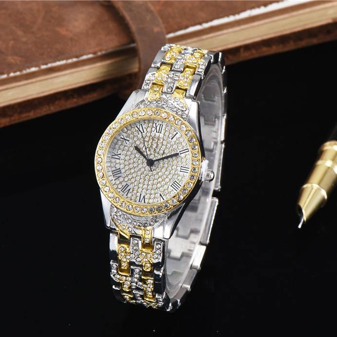 2019 nuove donne calde di lusso quarzo guarda pieno di diamanti rosa studente vigilanza delle signore giovani vestito stilista oro orologio regalo di natale