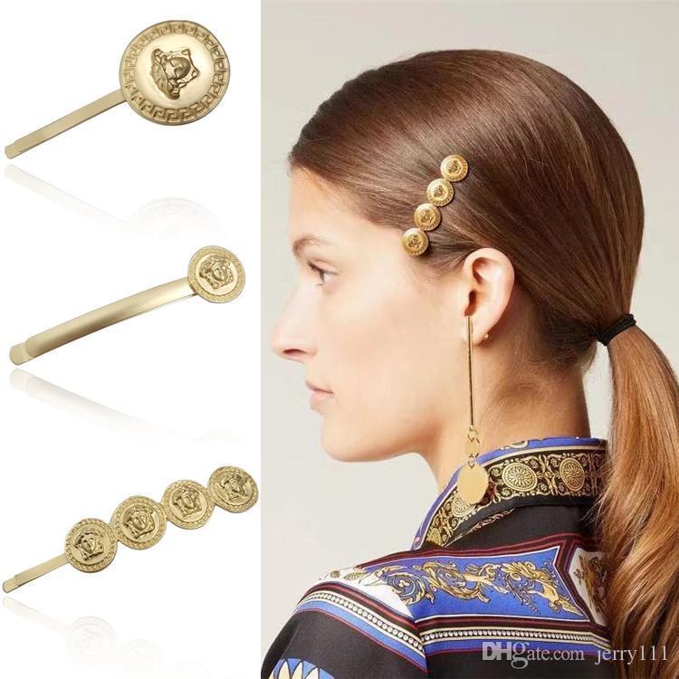 Metallo bellezza testa di lusso clip di capelli 4 stili donne vintage moneta capelli barrettes moda capelli accessori per partito regalo all'ingrosso JY861