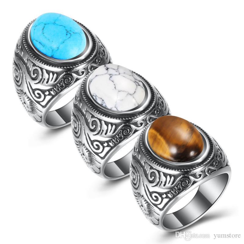 Retro Azul Turquesa Anéis de Aço Inoxidável Dos Homens Do Vintage Titânio Anel de Jóias de Luxo Presentes de Aniversário Para Homens