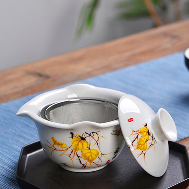 Chinese Traditions Gai Wan Tea Set Ceramics Hand Painted Tea Set Gaiwan Tea Porcelain Pot For Travel Beautiful And Easy Kettle