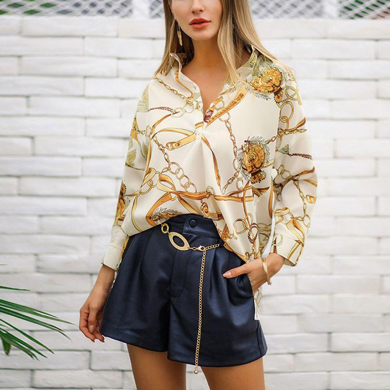 grandes variétés style top nombreux dans la variété Acheter 2019 Mode Printemps Femmes Longue Style Chemisier Chemisier Imprimé  Or Doré Irrégulier E2038 De $18.47 Du Zmart   DHgate.Com