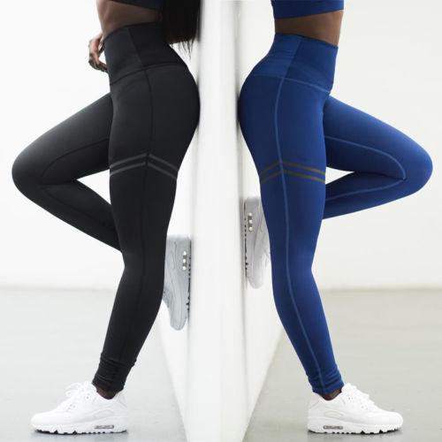 رياضة المرأة تجريب اليوجا رياضة للياقة البدنية اللباس الداخلي سروال أسود أزرق تمتد سراويل الركض الركض ملابس رياضية