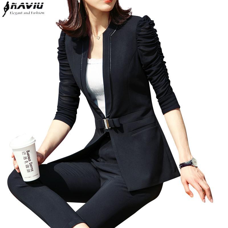 Moda 2 peças conjunto de roupas femininas 2,019 elegante negócio magros metade blazer de manga com calças mais desgaste tamanho Trabalho