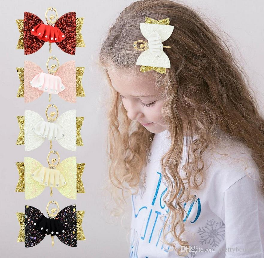 Baby Girls Boutique Hair Clips Glitter Bow Ballet Princess Hairpin Accessories