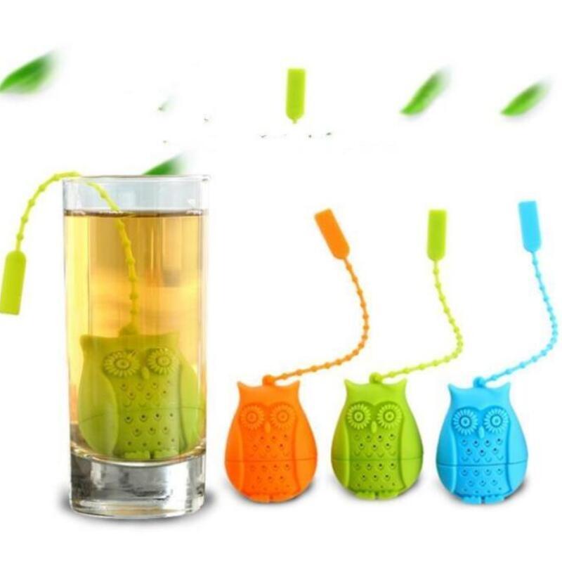 البومة مصفاة الشاي لطيف سيليكون مضطرب مصفاة أكياس الشاي الغذاء الصف الإبداعية فضفاضة أوراق الشاي infuser فلتر الناشر IIA26N