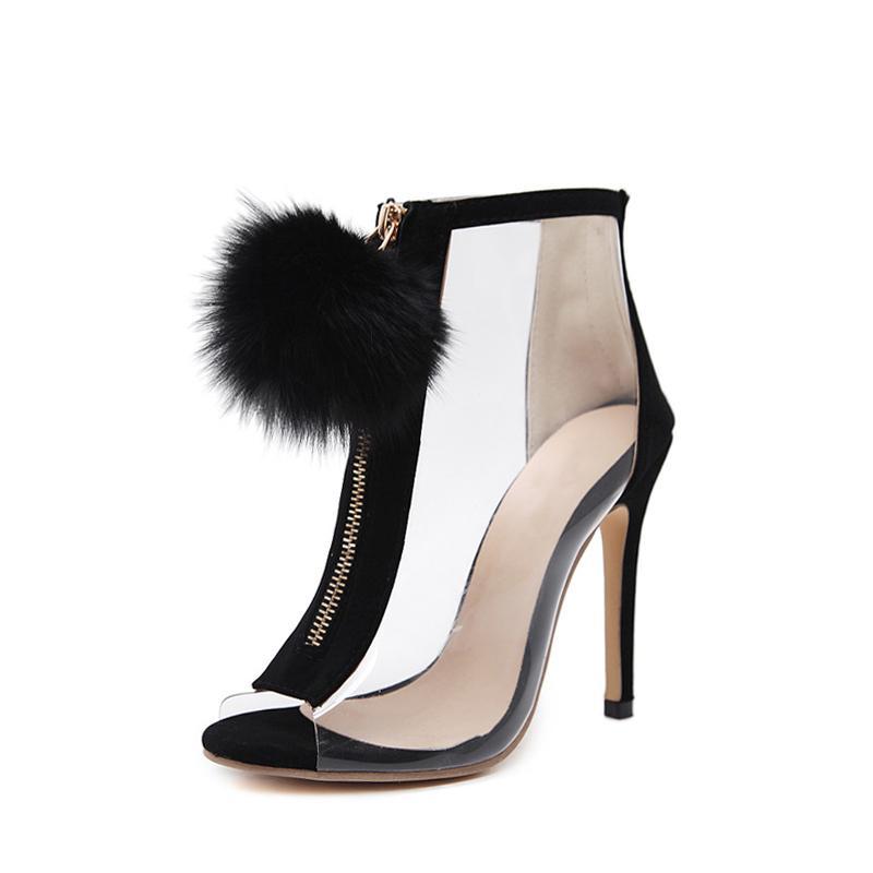 Le donne faux fur ball sexy tacchi a spillo tacchi alti trasparenti cerniera peep toe partito scarpe ragazza moda trasporto di goccia