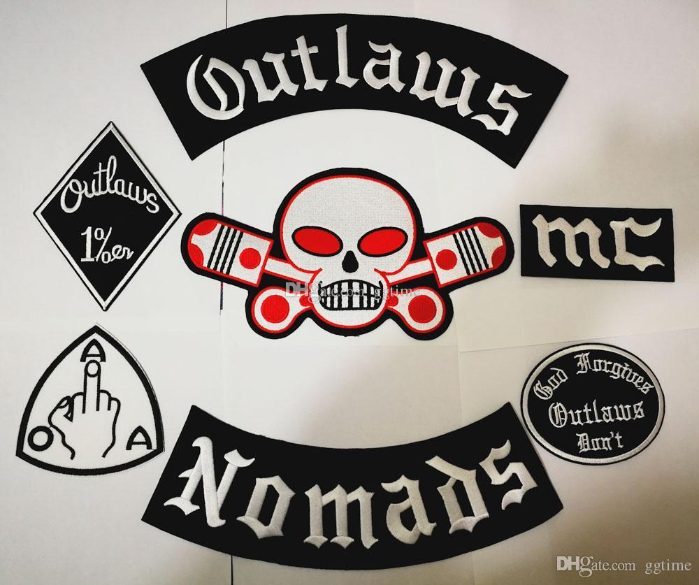 Lo nuevo Outlaws Parches bordó el hierro del motorista Nomads parches para la chaqueta de la motocicleta chaleco parche viejo proscritos Patch insignias etiqueta