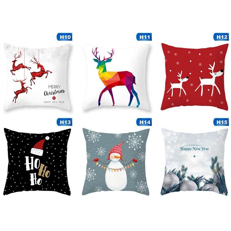 Feliz Natal Capas de Almofada de Fibra De Poliéster Xmas Estilo Capa de Almofada de Papai Noel Casa Decorativa Almofadas Do Sofá Capa