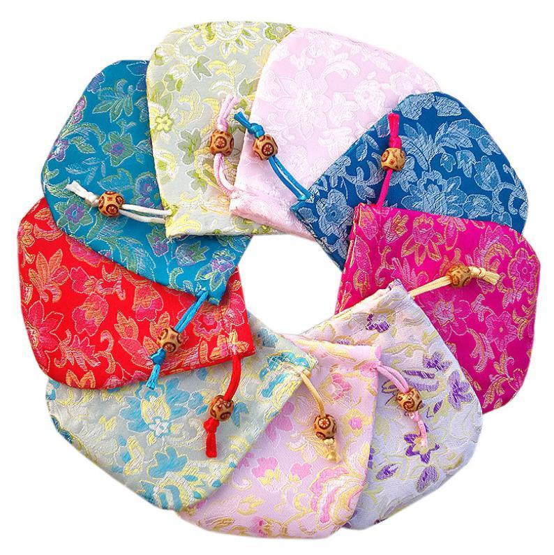 10x10cm sacchetto di gioielli, borsa regalo, sacchetti di gioielli, sacchetto di seta del modello di fiore cinese tradizionale sacchetto della chiusura lampo stile libero di trasporto