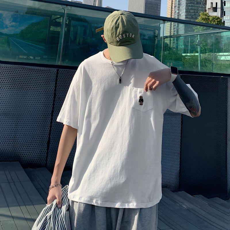 남자의 한국어 느슨한 셔츠 여름 조수 브랜드 남성의 라운드 넥 반소매 T 셔츠 트렌드 지방 폭발 모델의 세대