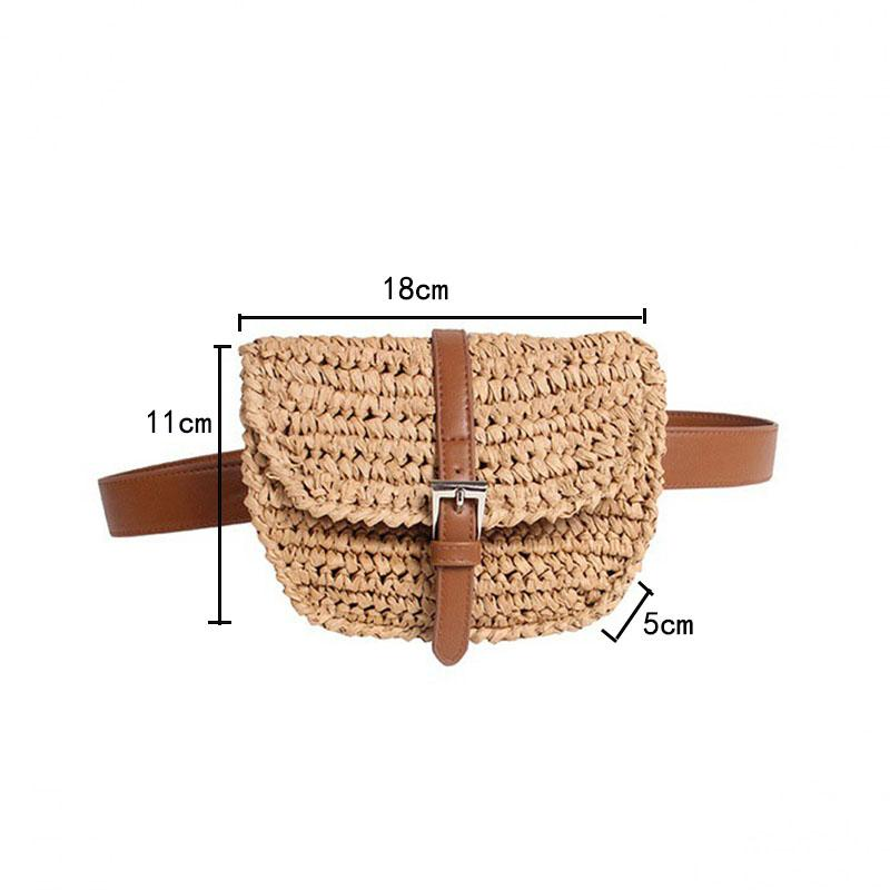 FEMALEE 2020 New Fashion Woven Beach Straw Bag Summer Women Concise Waist Packs Handmade Vacation Leather Belt Messenger Bags