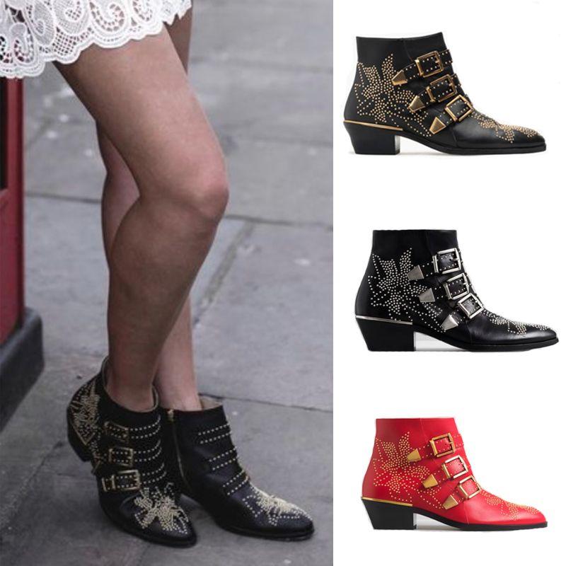 Женщины шипованной Сусанны ботинок Кожа Пряжка Ботильоны Мода Боковых молнии обувь для даст зиму Combat Boots Большого размера с коробкой