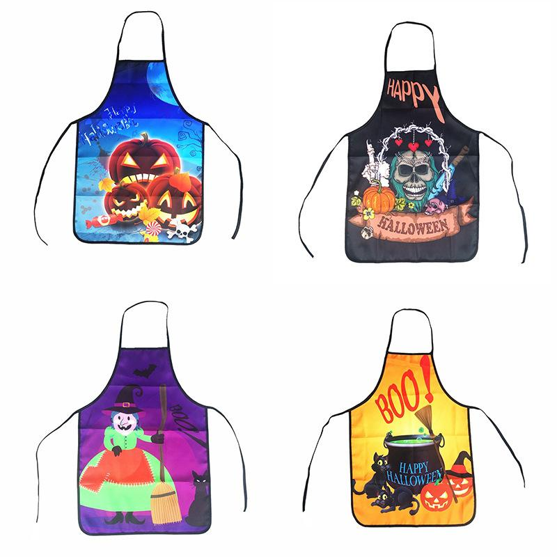 Halloween Party Apron decor Halloween 3D Oil Proof Aprons Cooking Baking Gardening Apron Pumpkin Skull Ghost Head Printing Design Dinner