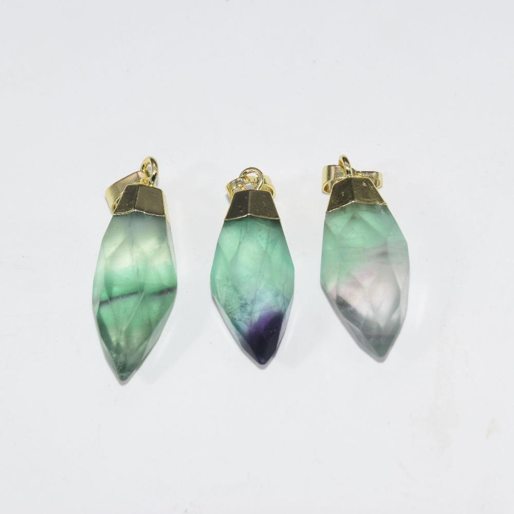 5 قطعة الأوجه الأخضر فلوريت الطبيعي الكوارتز قلادة ل قلادة قوس قزح الكريستال حجر رصاصة قلادة للنساء مجوهرات صنع