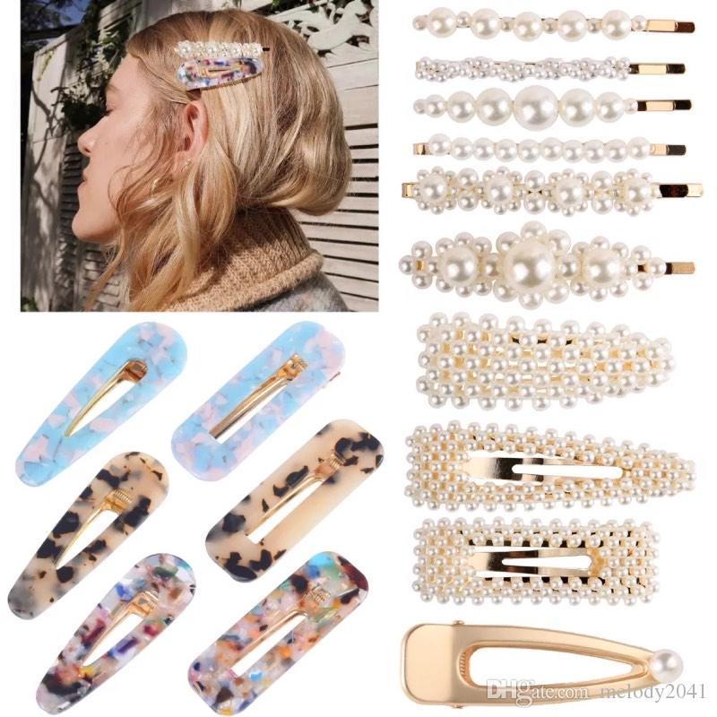 Pearls Haarnadel Set stilvolle Acetatplatte Haarklammern Mischen verschiedene BB-Clip Sweet Fashion Designer Frauen