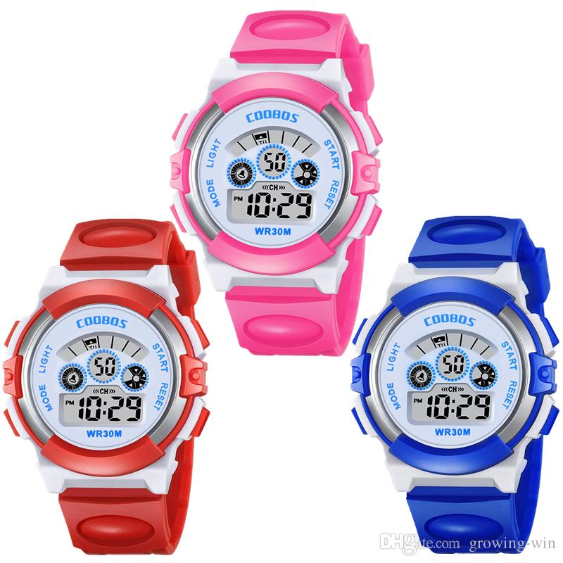 COOBOS 0919 children kids students girls sport led digital watch fashion electronic Multifunction Luminous gift party boys watches