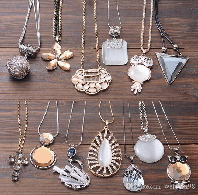10pcs/iot Mix Style Long Sweater Chain Crystal Necklaces Pendants For Craft Jewelry Gift NE01