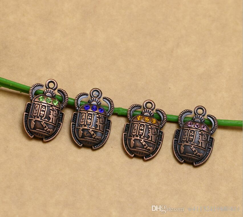 100pcs 16*26mm Rhinestone Egyptian Scarab Beetle With Charm , Beetle Charm Pendant For Necklace Bracelet Jewelry making-151