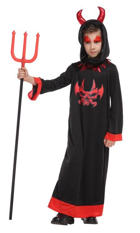 Çocuklar Rolü için çocuk Vampire Siyah Şeytan Evil çocuk Cosplay Ayak bileği-Uzunluk Elbise Seti Cadılar Bayramı Kostüm Partisi Cosplay Giyim oyna