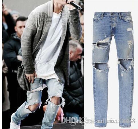 2019 Лучшего качество Hole джинсов мужского Justin Bieber рваные Pant для мужчин Нижней молнии тощего Брюки Валентайн Hip Hop Fashion Jeans