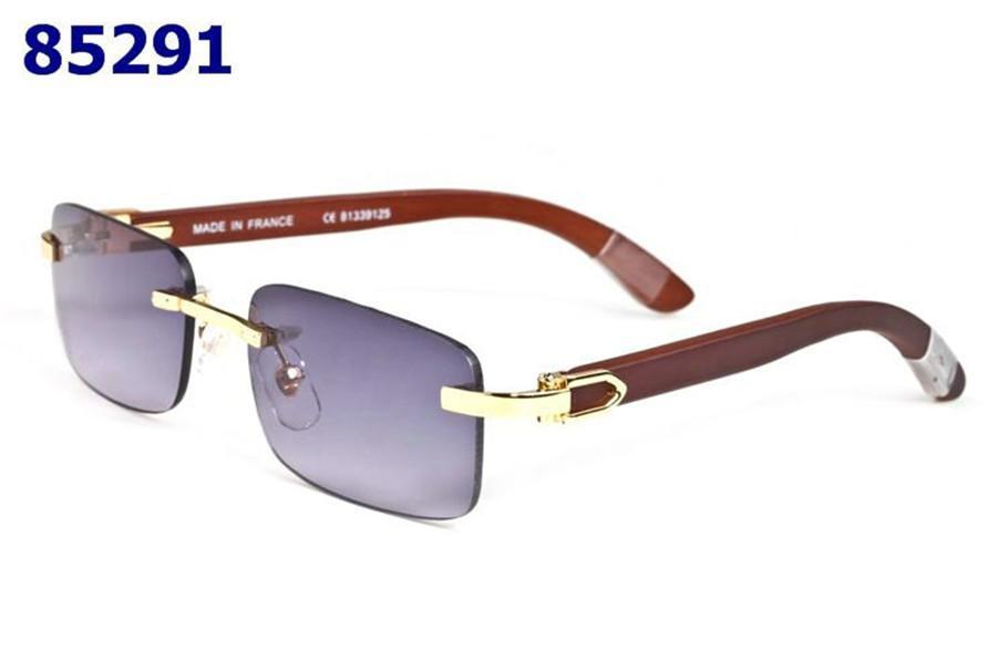 Avrupa ve Gözlük Klasik Altın Güneş Gözlüğü Moda Güneş Gözlüğü Buffalo Boynuz Bayanlar Lüks Moda Ahşap Çerçevesiz erkek Marka Ameri QWMF