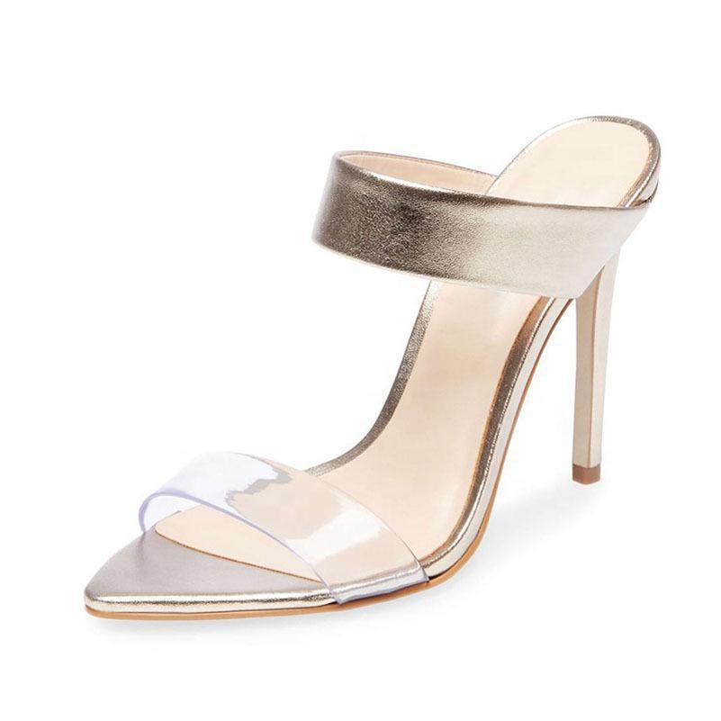 Goddess2019 com dedos finos são roupas de cor de damasco legal chinelo feminino sapatos transparentes sandálias de pvc vento