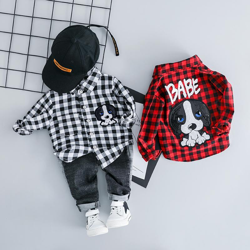 HYLKIDHUOSE Infant Clothes Suits 2019 Spring Baby Girls Boys Clothing Sets Lapel Plaid Shirt Jeans Cartoon Kids Children Costume LY191227