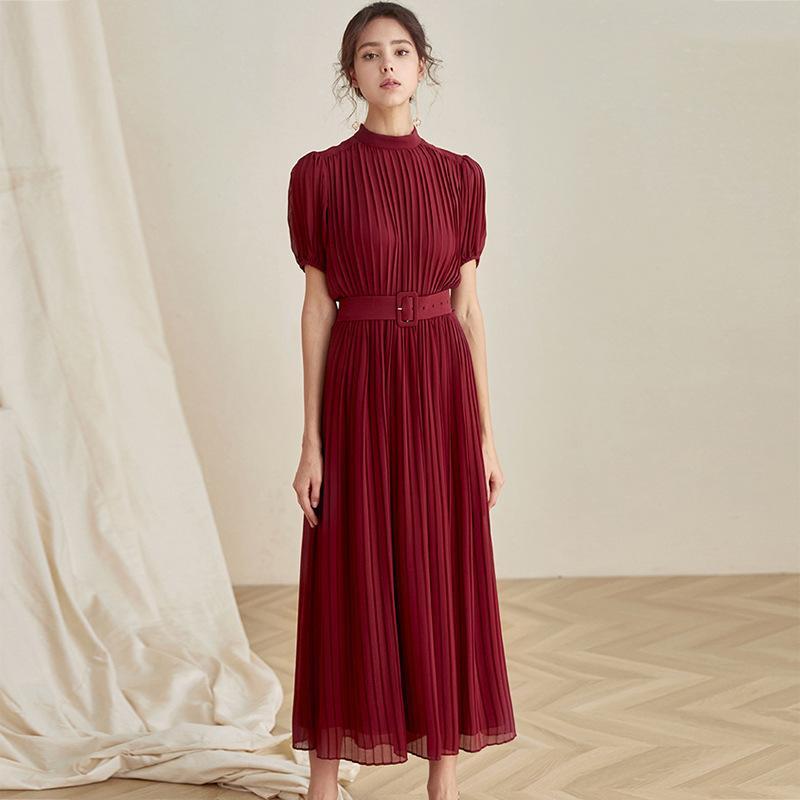 النساء فساتين النبيذ الأحمر قصيرة الأكمام النفخة الأكمام اللباس الربيع والخريف ملابس النساء S-L