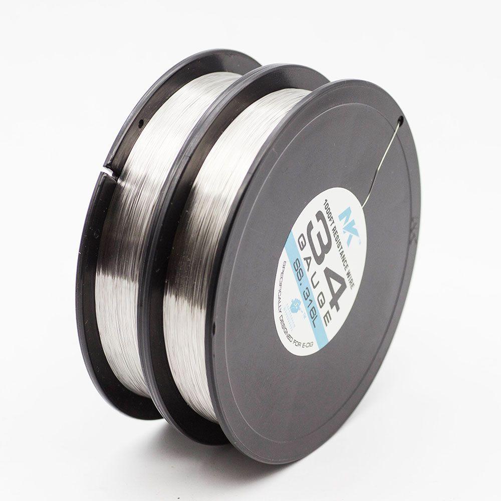 NK SS316L 34ga 36ga 38ga 40ga 42ga 44ga filo tondo 1000 piedi bobina resistenza elettrica filo bobina filo di acciaio inossidabile per e cig atomizzatore stoppino