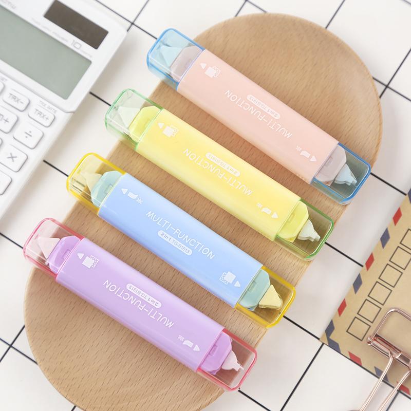Creativo nastro di correzione a doppia testa simpatico nastro adesivo punteggiato colla adesiva per ufficio scolastico cancelleria kawaii