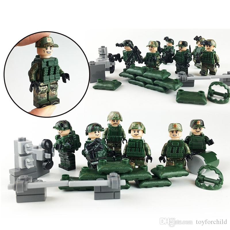 6шт Lot Sharp Attack Military Special Force Рисунок с Weapon Building Block Brick Игрушка для мальчика