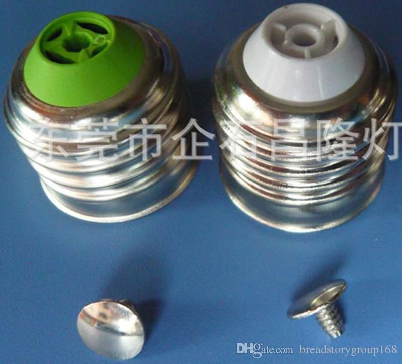 E27 الحديد بالنيكل مصباح حامل الأبيض أو الأخضر الاختياري E27 مصباح رئيس مع 1 برغي