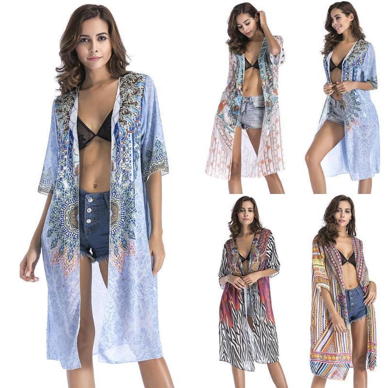 Nouveau Femmes Casual avant Ouvert en vrac Beachwear été maillot de bain Bikini Prints Couverture V-Neck Casual, Aucun lâche, Up