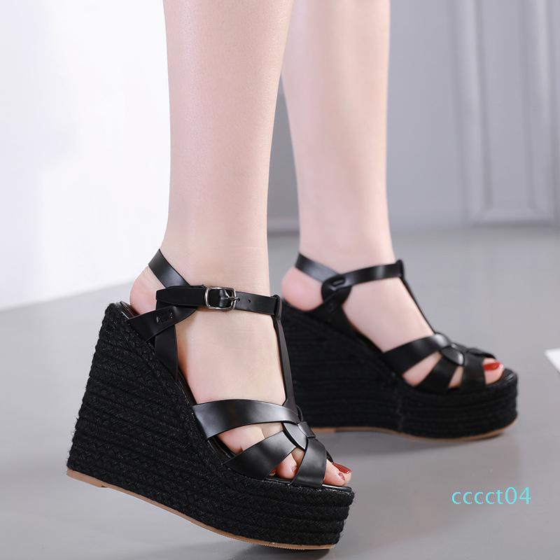 diseño atractivo las sandalias de cuña sandalias de las señoras de punto tejido de paja zapatos de plataforma de las mujeres de lujo de tamaño diapositivas 35 a 40 01d CT04