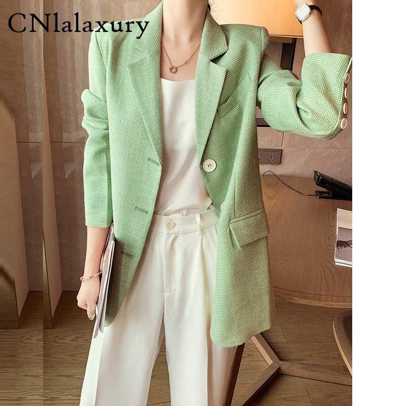 Ligth Зеленый однобортный ретро Blazer feminino длинным рукавом офис леди курток 2020 Верхняя одежда женщин Сыпучие костюм куртка пальто
